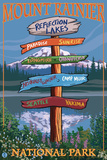 Mount Rainier National Park - Reflection Lakes Destination Sign Prints by  Lantern Press