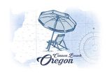 Cannon Beach, Oregon - Beach Chair and Umbrella - Blue - Coastal Icon Print by  Lantern Press