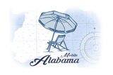 Mobile, Alabama - Beach Chair and Umbrella - Blue - Coastal Icon Prints by  Lantern Press
