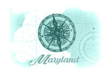 Maryland - Compass - Teal - Coastal Icon Posters by  Lantern Press