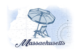 Massachusetts - Beach Chair and Umbrella - Blue - Coastal Icon Poster by  Lantern Press