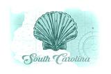 South Carolina - Scallop Shell - Teal - Coastal Icon Prints by  Lantern Press