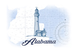 Alabama - Lighthouse - Blue - Coastal Icon Posters by  Lantern Press
