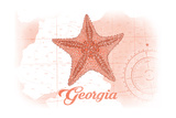 Georgia - Starfish - Coral - Coastal Icon Prints by  Lantern Press