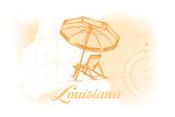 Louisiana - Beach Chair and Umbrella - Yellow - Coastal Icon Prints by  Lantern Press