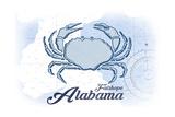 Fairhope, Alabama - Crab - Blue - Coastal Icon Print by  Lantern Press