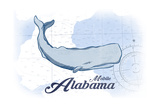 Mobile, Alabama - Whale - Blue - Coastal Icon Poster by  Lantern Press