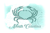 North Carolina - Crab - Teal - Coastal Icon Posters by  Lantern Press