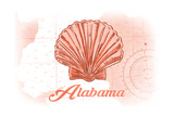 Alabama - Scallop Shell - Coral - Coastal Icon Art by  Lantern Press