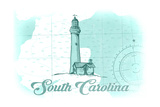 South Carolina - Lighthouse - Teal - Coastal Icon Posters by  Lantern Press