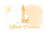South Carolina - Lighthouse - Yellow - Coastal Icon Prints by  Lantern Press