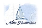 New Hampshire - Sailboat - Blue - Coastal Icon Prints by  Lantern Press