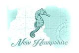 New Hampshire - Seahorse - Teal - Coastal Icon Art by  Lantern Press