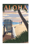 Adirondack Chairs and Sunset - Aloha Print by  Lantern Press