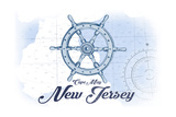 Cape May, New Jersey - Ship Wheel - Blue - Coastal Icon Print by  Lantern Press