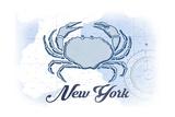 New York - Crab - Blue - Coastal Icon Prints by  Lantern Press