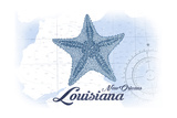 New Orleans, Louisiana - Starfish - Blue - Coastal Icon Print by  Lantern Press