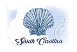 South Carolina - Scallop Shell - Blue- Coastal Icon Art by  Lantern Press
