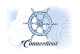 Connecticut - Ship Wheel - Blue - Coastal Icon Poster by  Lantern Press