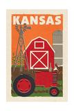 Kansas - Country - Woodblock Giclée-Premiumdruck von  Lantern Press