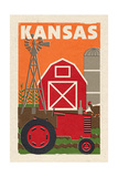 Kansas - Country - Woodblock Print by  Lantern Press
