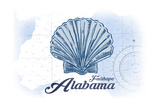 Fairhope, Alabama - Scallop Shell - Blue - Coastal Icon Posters by  Lantern Press