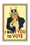 Uncle Sam - I Want You to Vote - Political Posters by  Lantern Press