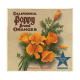 California Poppy Brand - Redlands, California - Citrus Crate Label Prints by  Lantern Press