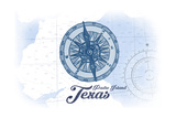 Padre Island, Texas - Compass - Blue - Coastal Icon Posters by  Lantern Press