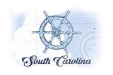 South Carolina - Ship Wheel - Blue - Coastal Icon Prints by  Lantern Press