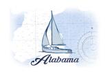 Alabama - Sailboat - Blue - Coastal Icon Posters by  Lantern Press