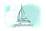 Alabama - Sailboat - Teal - Coastal Icon Poster by  Lantern Press