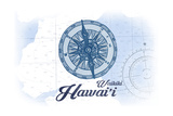 Waikiki, Hawaii - Compass - Blue - Coastal Icon Print by  Lantern Press
