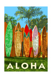 Surfboard Fence - Aloha Print by  Lantern Press