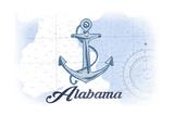 Alabama - Anchor - Blue - Coastal Icon Posters by  Lantern Press