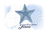 Padre Island, Texas - Starfish - Blue - Coastal Icon Posters by  Lantern Press