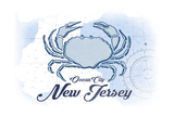 Ocean City, New Jersey - Crab - Blue - Coastal Icon Posters by  Lantern Press