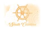 South Carolina - Ship Wheel - Yellow - Coastal Icon Posters by  Lantern Press