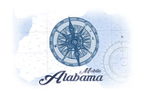 Mobile, Alabama - Compass - Blue - Coastal Icon Prints by  Lantern Press