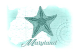 Maryland - Starfish - Teal - Coastal Icon Poster by  Lantern Press