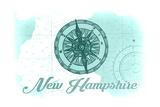 New Hampshire - Compass - Teal - Coastal Icon Prints by  Lantern Press