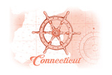 Connecticut - Ship Wheel - Coral - Coastal Icon Prints by  Lantern Press