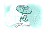 Florida - Beach Chair and Umbrellas - Teal - Coastal Icon Posters by  Lantern Press