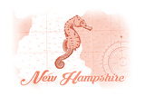 New Hampshire - Seahorse - Coral - Coastal Icon Posters by  Lantern Press