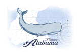 Fairhope, Alabama - Whale - Blue - Coastal Icon Poster by  Lantern Press