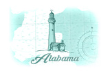 Alabama - Lighthouse - Teal - Coastal Icon Posters by  Lantern Press