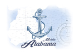 Mobile, Alabama - Anchor - Blue - Coastal Icon Posters by  Lantern Press
