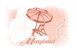 Maryland - Beach Chair and Umbrella - Coral - Coastal Icon Prints by  Lantern Press