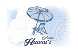 Waikiki, Hawaii - Beach Chair and Umbrella - Blue - Coastal Icon Prints by  Lantern Press