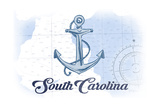 South Carolina - Anchor - Blue - Coastal Icon Poster by  Lantern Press